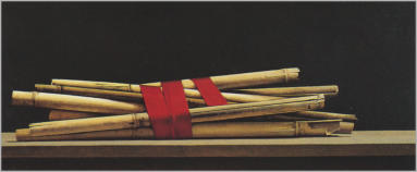 Wim Blom  Reeds and red ribbon Oil on canvas 25 x 60 cm